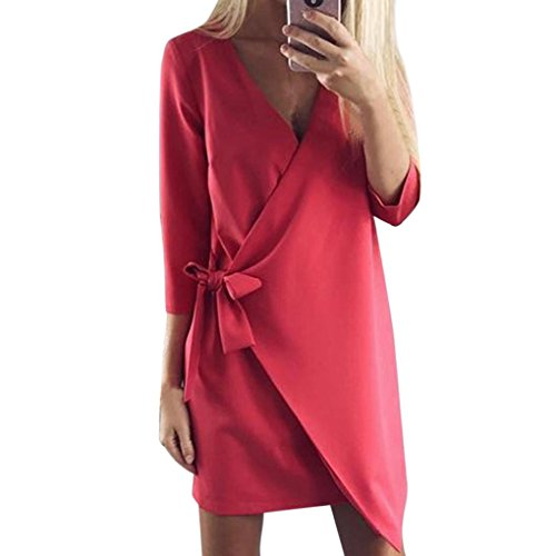 Longra Damen Asymmetrisch Einfarbig Business Kleid Etuikleid Bleistiftkleid Langarm Kleid Knielang Damen Herbst Winter Casual Party Mini Kleid Tunika mit Bandage Red