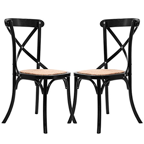 Costway Cross Back Dining Chairs Set of 2 Antique Style Solid Wooden Frame Side Chairs with Rattan Seat (Black) (Rattan Chairs With Set Room Dining)