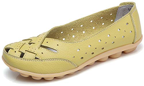 (Fangsto Women's Cowhide Leather Shoes Loafers Flats Sandals Slip-On Cutout US Size 10.5 Celery)