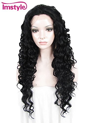 Imstyle High Density Quality Hair Wigs Jet Black Long Curly Synthetic Lace Front (Jet Lace Wig)