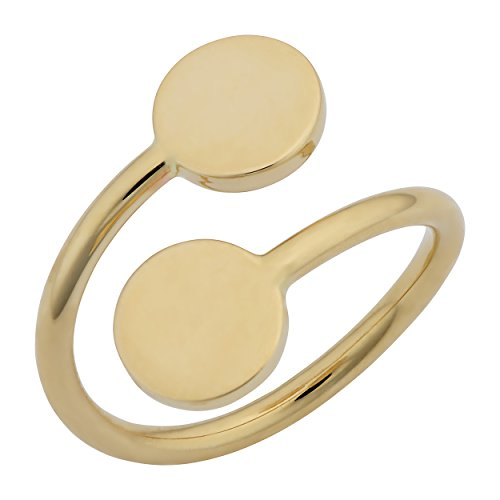 Kooljewelry 14k Yellow Gold High Polish Double Disc Bypass Ring (Size 8)