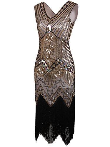 Vikoros - Vestido - Noche - Paisley - Sin mangas - para mujer Glam Gold
