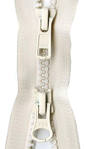 "YKK Vislon 2-Way Separating Zipper, 36"", Off White"