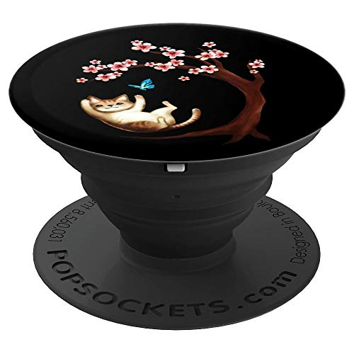 Cat Cherry Blossom Tree Pink Japanese Sakura Flower - PopSockets Grip and Stand for Phones and Tablets