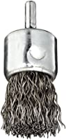 "Weiler Wire End Brush, Solid End, Round Shank, Steel, Crimped Wire, 1"" Diameter, 0.02"" Wire Diameter, 1/4"" Shank, 22000 rpm (Pack of 1)"