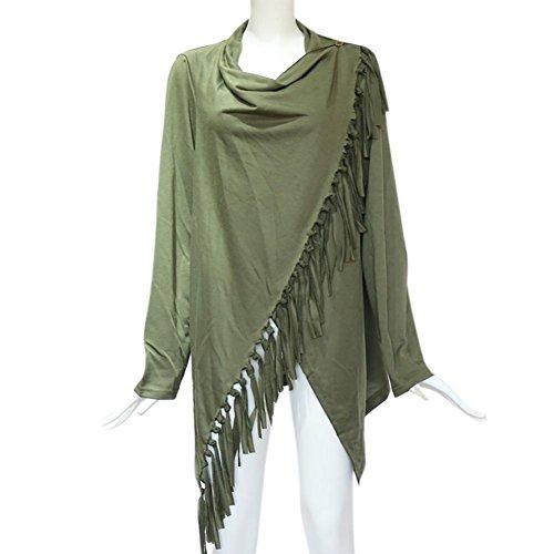 Elegante Felpa Cardigan Camicette Casual ABCone Pullover maglia con Lunghe Donna a S Camicie girocollo lavorato 3XL T nappa Autunno Verde Tops Shirt Maniche xwXXIqUar