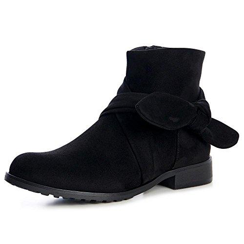 topschuhe24 1305 Damen Stiefeletten Ankle Boots Velours Schwarz