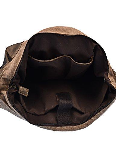Bandolera Douguyan Lona al E00206 y PU Negro 261marron Hombre bolsos hombro de Bolso rC6wqIxC