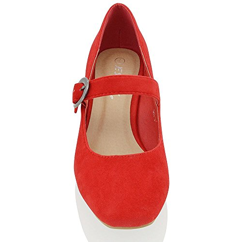 ESSEX GLAM Gamuza Sintética Zapatos de salón de punta cuadrada con tacón bajo cuadrado y hebilla Rojo Gamuza Sintética