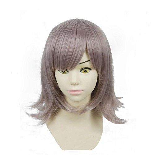 SUNCOS Wavy 100% High Temperature Dangani for Female Woman Girl Silver Pink 35cm 14 Short air Hairpin Cap Cosplay Wig Synthetic