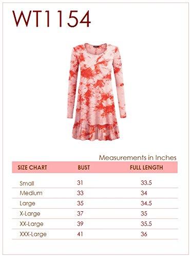 Se Réunissent En Californie Ctc Femmes Tie-dye Manches Longues Fond Tunique Volantée Robe Courte - Made In Usa Wt1154_teal