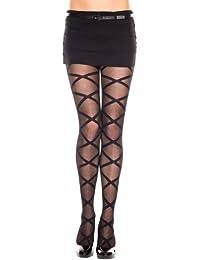 Sheer Black Criss Cross Pattern Hosiery Tights