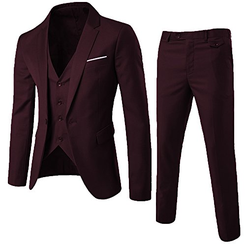- WULFUL Men's Suit Slim Fit One Button 3-Piece Suit Blazer Dress Business Wedding Party Jacket Vest & Pants Dark Red