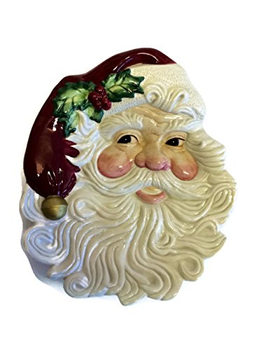 Fitz & Floyd Christmas Holiday Santa Face Canape Serving Plate Omnibus - Fitz & Floyd Omnibus