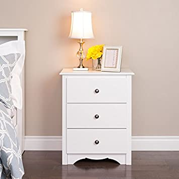 winslow white 3drawer tall nightstand measures 23 inches wide x 29 inches high