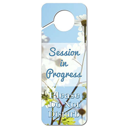 Session in Progress Please Do Not Disturb Plastic Door Knob Hanger Warning Room Sign - Daisies and Blue Sky