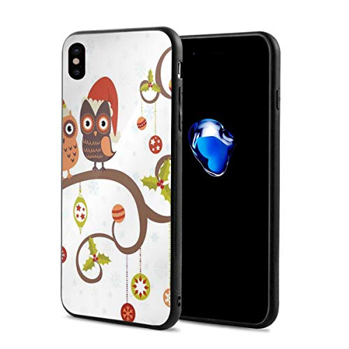 (Phone Case Cover Compatible with iPhone X XS,Owls On Celebrating Twiggy Tree Branches Annual Yule Noel Christmas Themed Print,Compatible with iPhone X/XS 5.8)