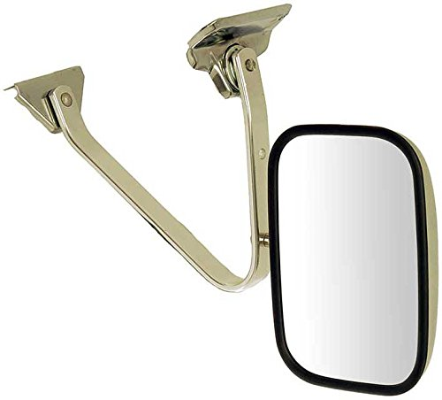 APDTY 066291 Side View Mirror - Left , Manual, Flat Glass, Chrome (Oldsmobile Delta 88 Mirror Glass)