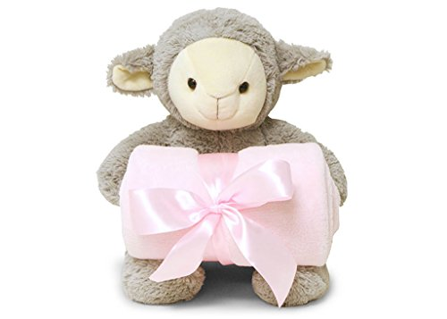 Smiling Softly Lovely Lamb Hugging Pink Cozy Fleece Nursery Blanket 38 x 28 inch