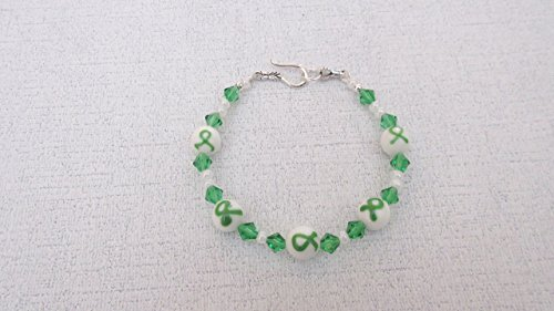 Green Ribbon Awareness Lampwork Swarovski Bracelet