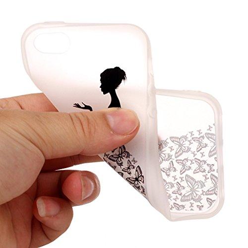 iPhone 5 5S Coque,3D Fille papillon Premium Gel TPU Souple Silicone Transparent Clair Bumper Protection Housse Arrière Étui Pour Apple iPhone 5 5S / SE + Deux cadeau
