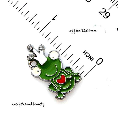 Pendant Jewelry Making 2 Green Frog Enamel Rhinestone Silver 25mm Flat Prince Crown Bead Drop Charms