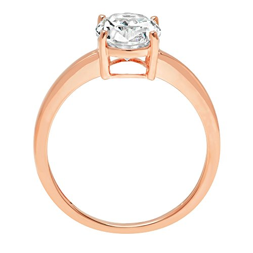 2.5ct Oval Brilliant Cut Classic Solitaire Designer Wedding Bridal Statement Anniversary Engagement Promise Ring Solid 14k Rose Gold, 8.75 by Clara Pucci (Image #1)