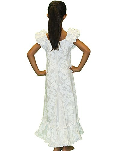 White Ruffle Muumuu Hawaiian Dress for Girls Made in Hawaii-6 (Ruffle Muumuu)