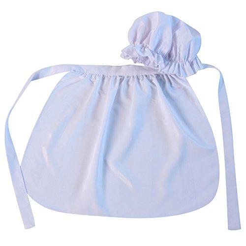 Girls Basic Mop Cap and Apron Set, White Girl Costume Dress Hat Apron