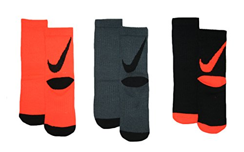 Nike Boys Big Swoosh Crew Socks 3 Pair, 13C-3Y (13C-3Y, - Socks Black Orange Nike