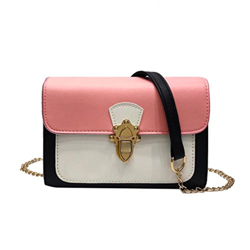 Price comparison product image Wome BagsCOPPEN Women Girl Fashion Patchwork Casual Buckle Flap Bag Crossbody Shoulder Bag (Pink)