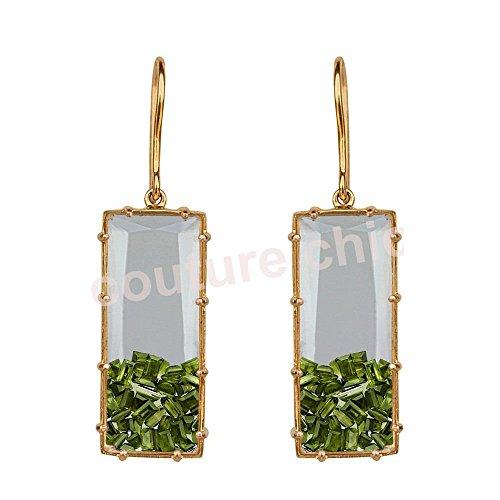 Baguette Peridot Ring - Baguette Peridot Gemstone Shaker Dangle Hook Earrings 18K Yellow Gold Jewelry