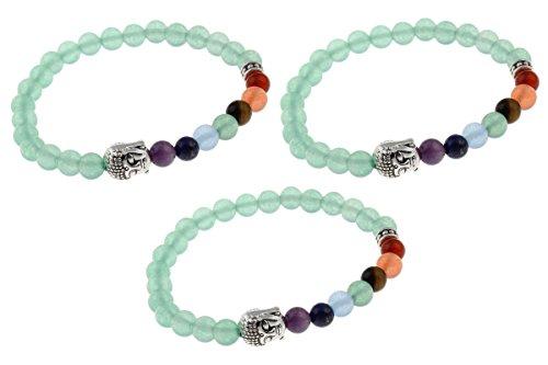 3 Stone Green Bracelet ((3 Pack) TheAwristocrat 7 Chakras Buddha Beads - Green Aventurine Natural Stone Bracelets Wrist Mala for Spiritual Meditation and Prayer (Green Aventurine - 6mm))
