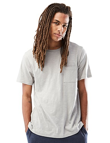 (Rebel Canyon Young Men's Short Sleeve Crewneck Pocket T-Shirt in Slub Jersey Large Grey)