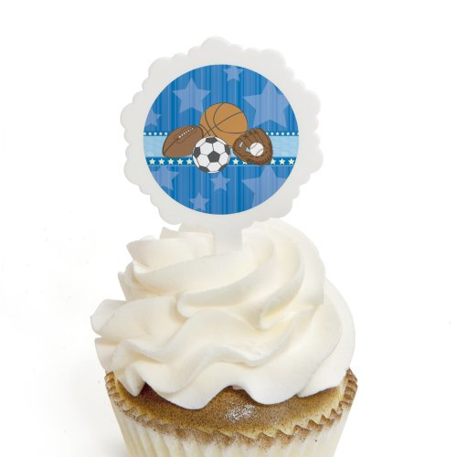 All Star Sports - Cupcake Picks with Stickers - Baby Shower or Birthday Party Cupcake Toppers - 12 Count