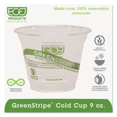 Eco Products EPCC9SGS GreenStripe Renewable Resource Compostable Cold Drink Cups, 9 oz., Clr, 1000/Ctn