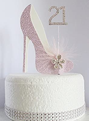 Fine 21St Pink And White Birthday Cake Decoration Shoe With Feathers Personalised Birthday Cards Beptaeletsinfo
