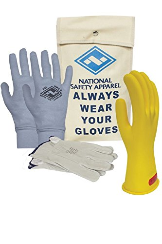 National Safety Apparel KITGC009YAG Class 0 Rubber Voltage Glove Premium Kit with FR Knit Glove, Size 9, Yellow by National Safety Apparel Inc