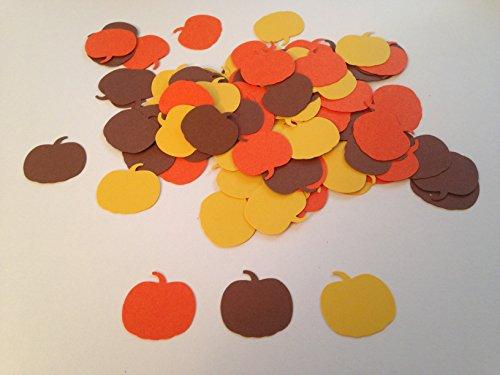 100 Orange Brown Yellow Pumpkin Confetti Autumn Fall Cut outs