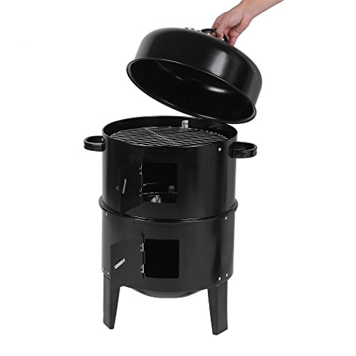 Blackpoolfa 3 in 1 Patio 16.5inch Vertical Charcoal Smoker Grill BBQ for Home Garden Outdoor Barbecue/Smoking by Round Portable Charcoal Grill Roast Cooker for 3-5 people