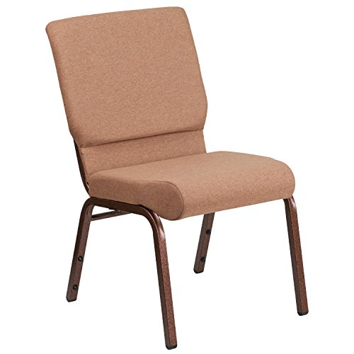 "18.5""W Stacking Church Chair in Caramel Fabric – Copper Vein Frame"