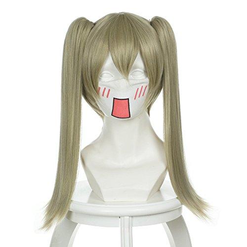 Cfalaicos Soul Eater Anime MAKA ALBARN Cosplay Wig Straight Clip on Ponytails (Maka Soul Eater Costume)
