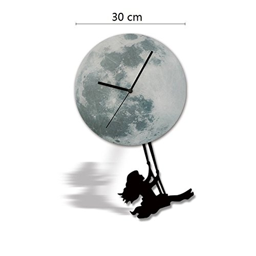 Hysenm Picturesque Glowing Moon Pendulum Clock Wall Sticker Repositional Decorative Wall Decal For Home Office Studio Café, swinging girl, 30cm