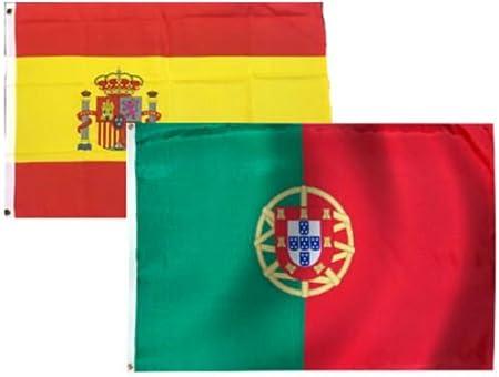 Moon Knives 2 x 3 Banderas de España Español y Portugal 2 Banderas – Decoración de Fiestas Suministros para Paradas – Prime Outside, jardín, Hombre Cave Decor Bandera: Amazon.es: Jardín