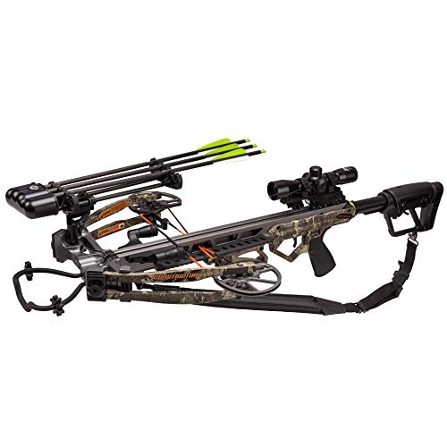 Bear X Constrictor Ready to Shoot Crossbow Package with Scope, Quiver, Bolts, Cocking Rope, and Wax, Strata Finish