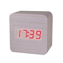 Morrivoe LED Alarm Clock Creative Temperature Display Sounds Control Electronic wooden 12/24H alarm clock