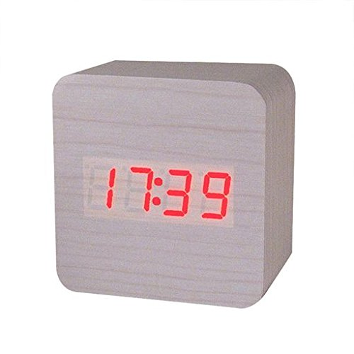 Morrivoe LED Alarm Clock Creative Temperature Display Sounds Control Electronic wooden 12/24H alarm clock