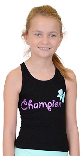 Stretch is Comfort Girl's Cotton CHAMPION CHEER BOW Racerback Tank Top Small