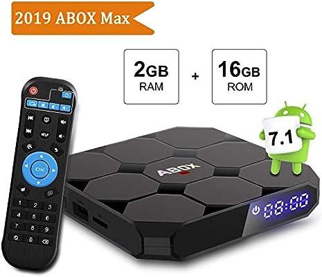 Android TV Box, ABOX A1 MAX Android 7.1 Smart TV Box de 2GB RAM+16GB ROM con BT 4.0 Soporta WiFi 2.4GHz /Full HD/ 4K H.265 Android Box: Amazon.es: Electrónica