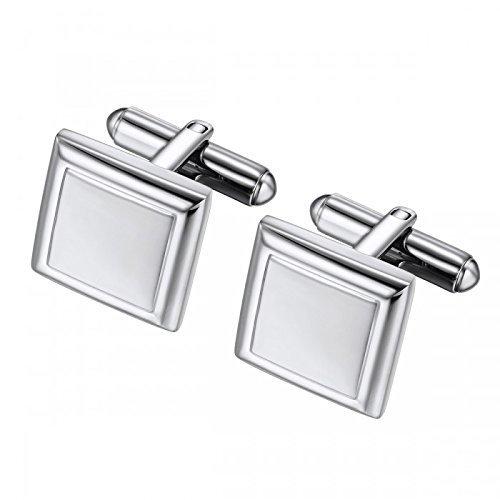 Square Geometric Stainless Steel Cufflinks - (Geometric Gold Cufflinks)